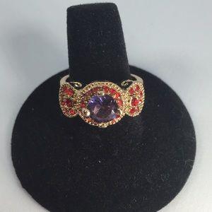 Jewelry - PURPLE AMETHYST GOLD RHODIUM PLATED RING